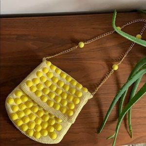 Vintage Yellow Beaded Bag with Gold Chain.